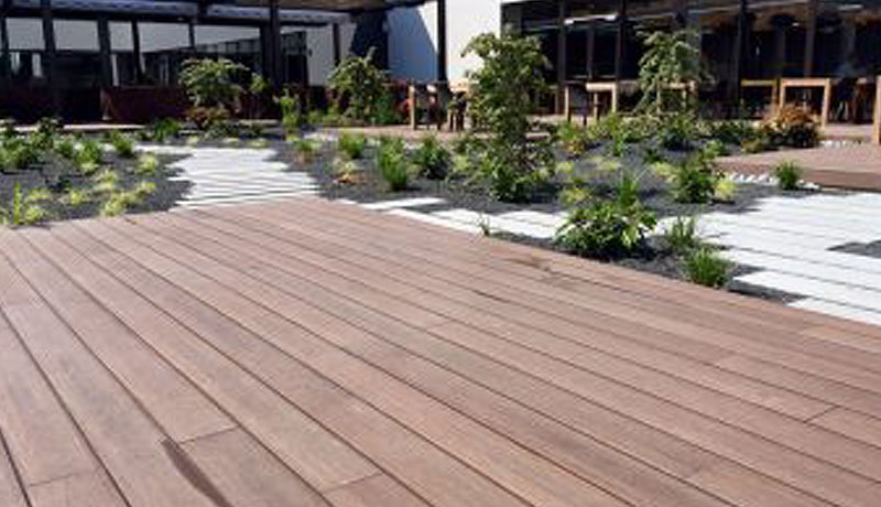 Composite decking for smart care pods for residential care