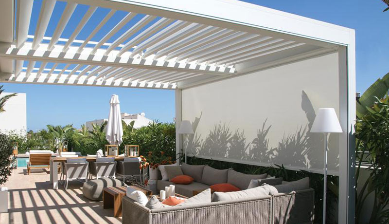 Smart pergola for smart care pods for residential care